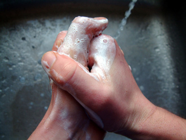 Picture of hands being washed